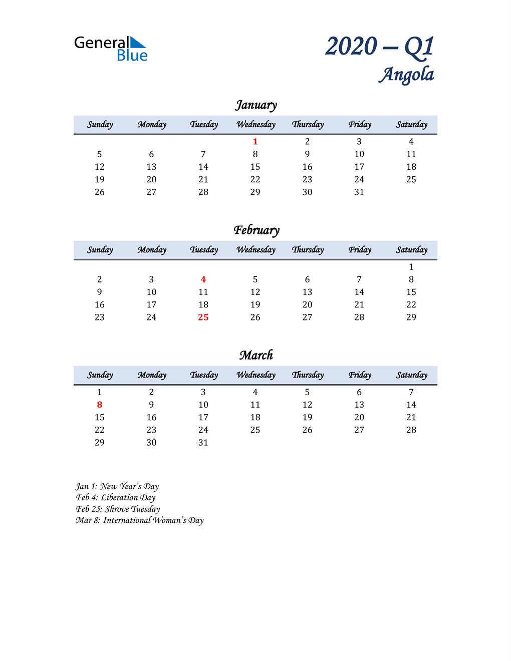 January, February, and March Calendar for Angola
