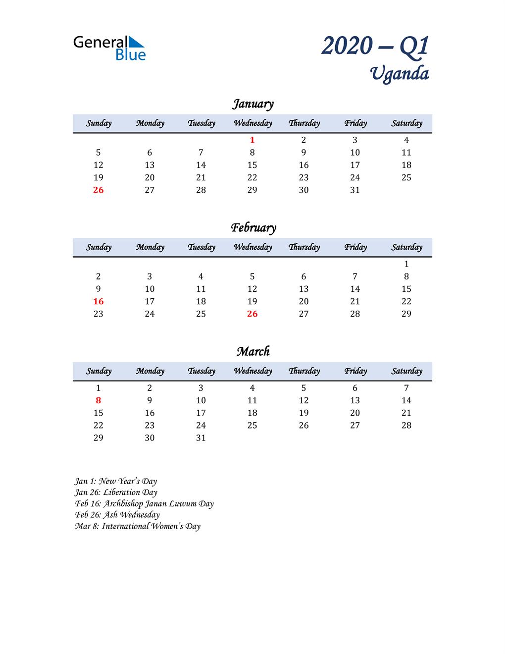 January, February, and March Calendar for Uganda