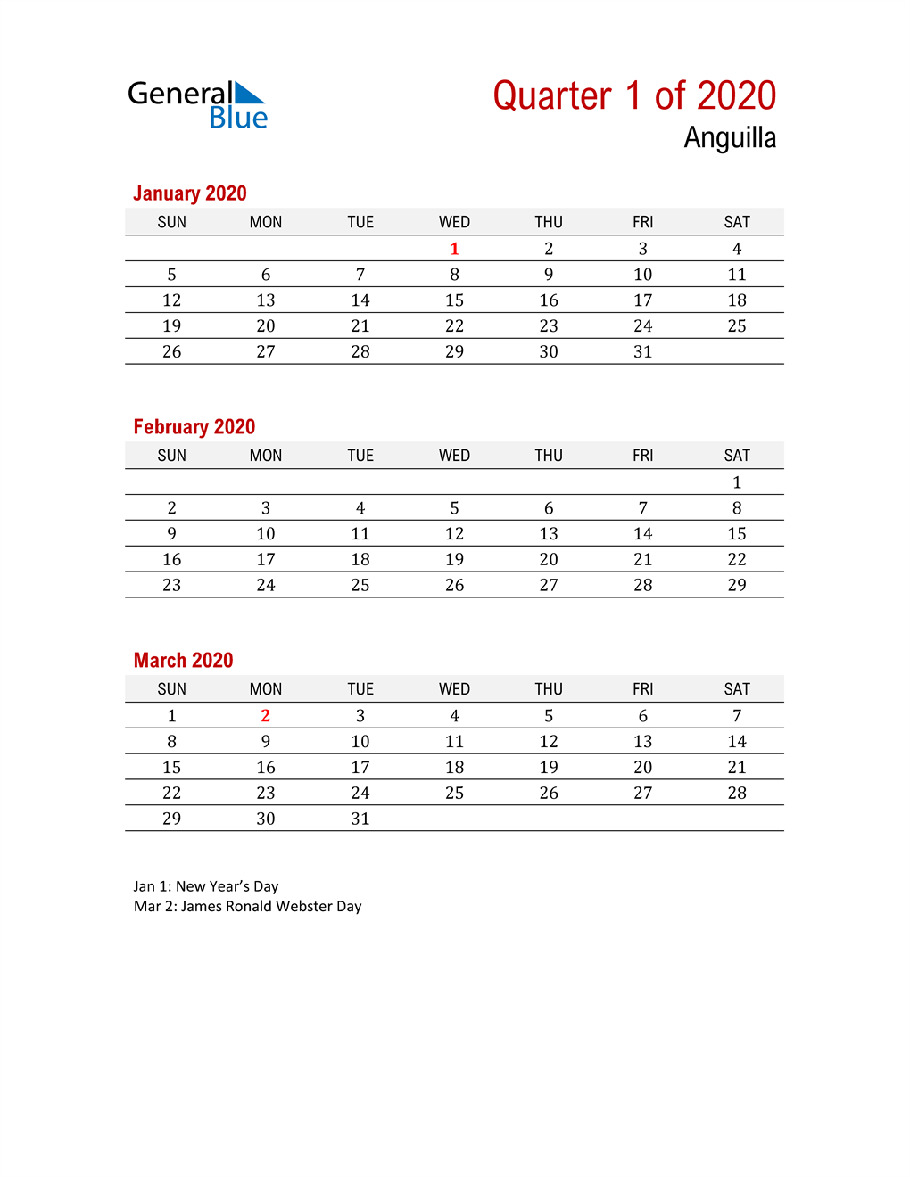 Printable Three Month Calendar for Anguilla