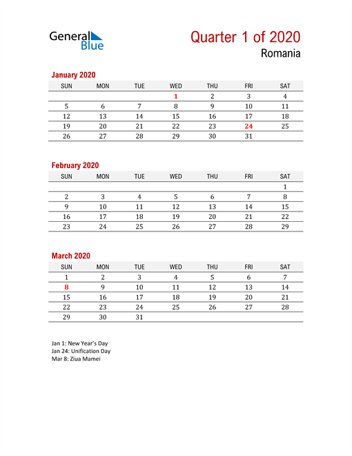 Printable Three Month Calendar for Romania