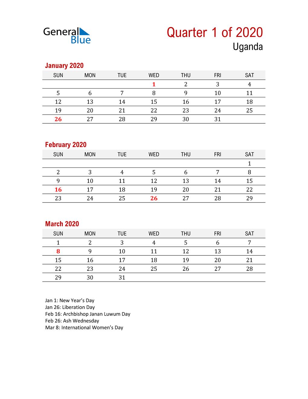 Printable Three Month Calendar for Uganda