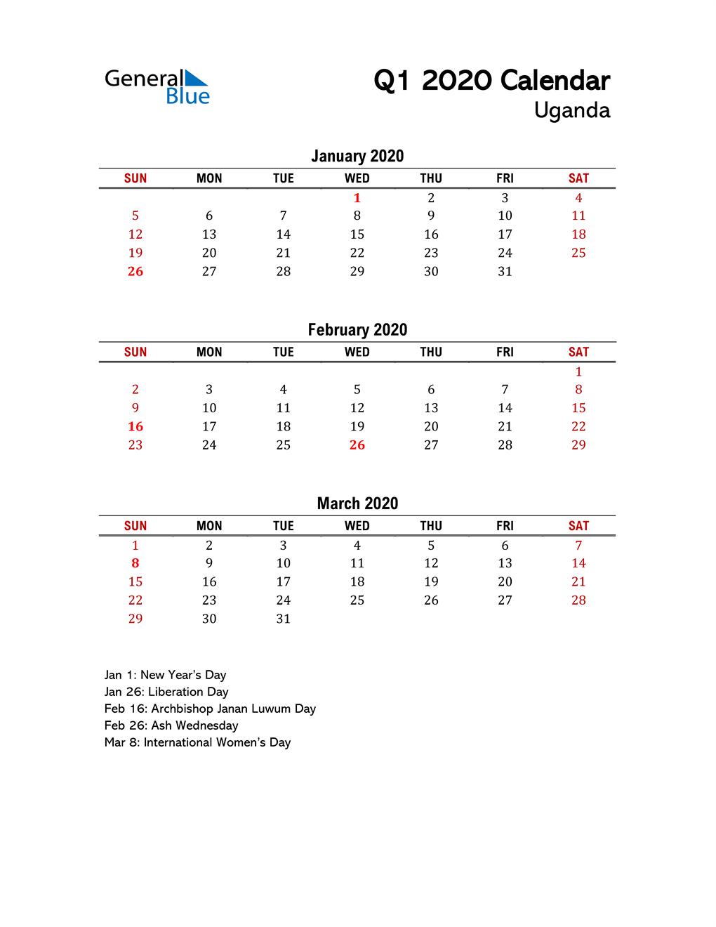 2020 Q1 Calendar with Holidays List