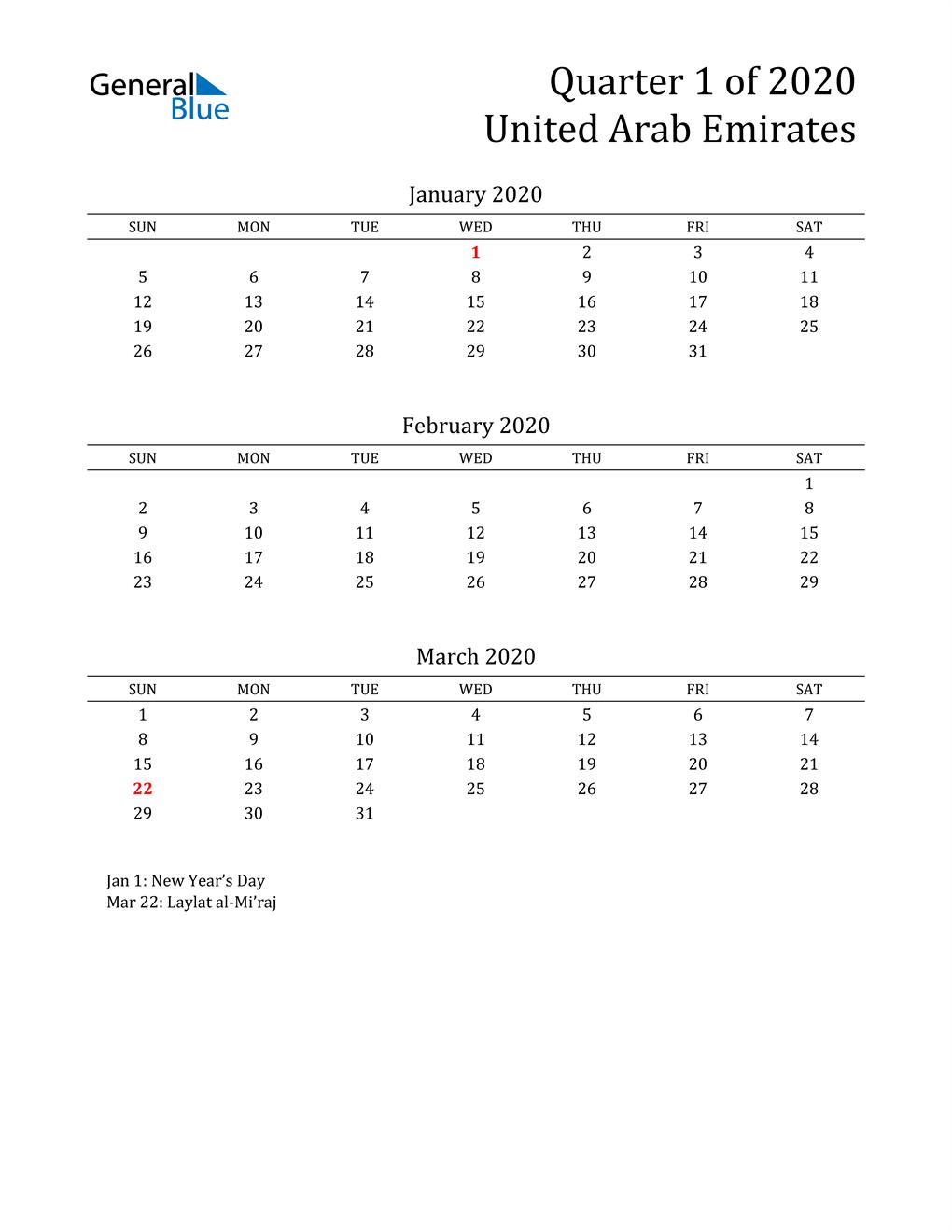 2020 United Arab Emirates Quarterly Calendar