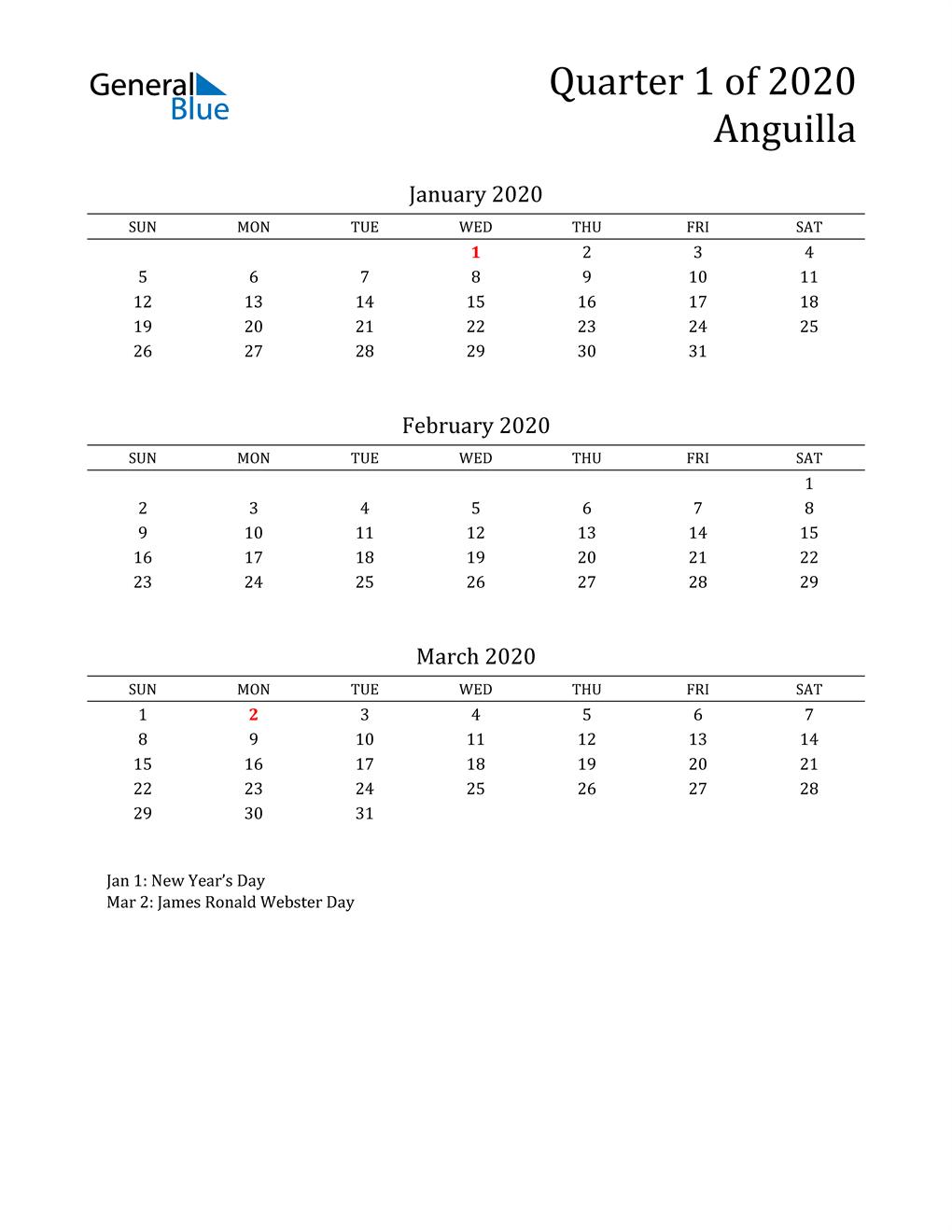 2020 Anguilla Quarterly Calendar