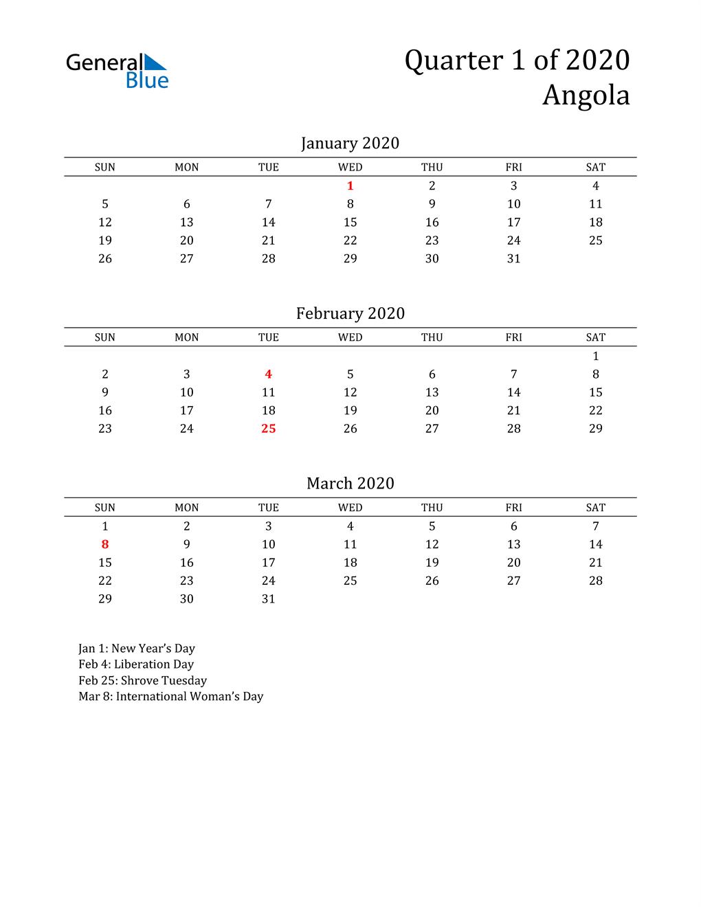 2020 Angola Quarterly Calendar