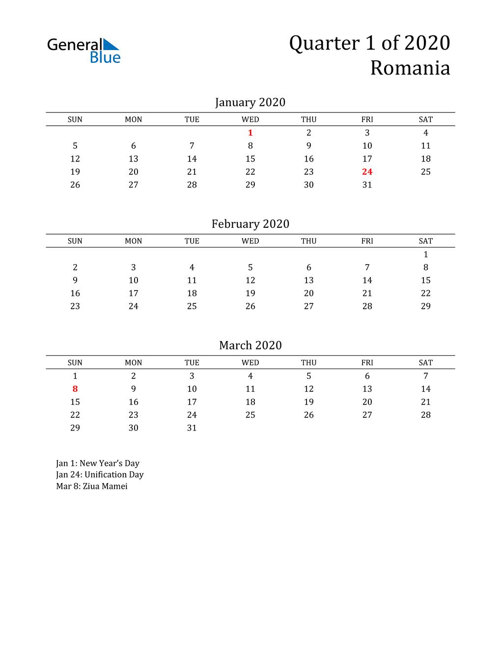 2020 Romania Quarterly Calendar