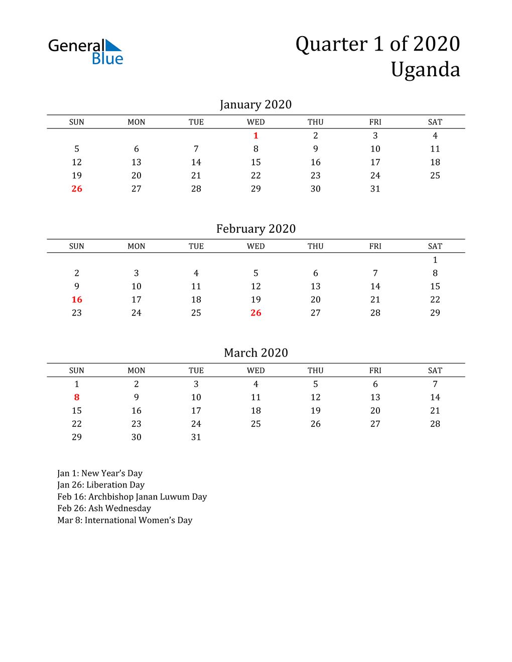 2020 Uganda Quarterly Calendar