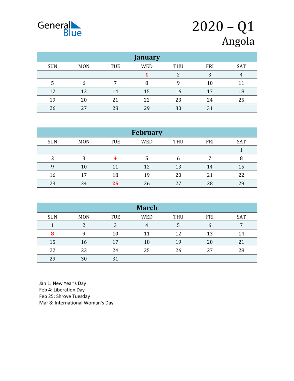 Three-Month Planner for Q1 2020 with Holidays