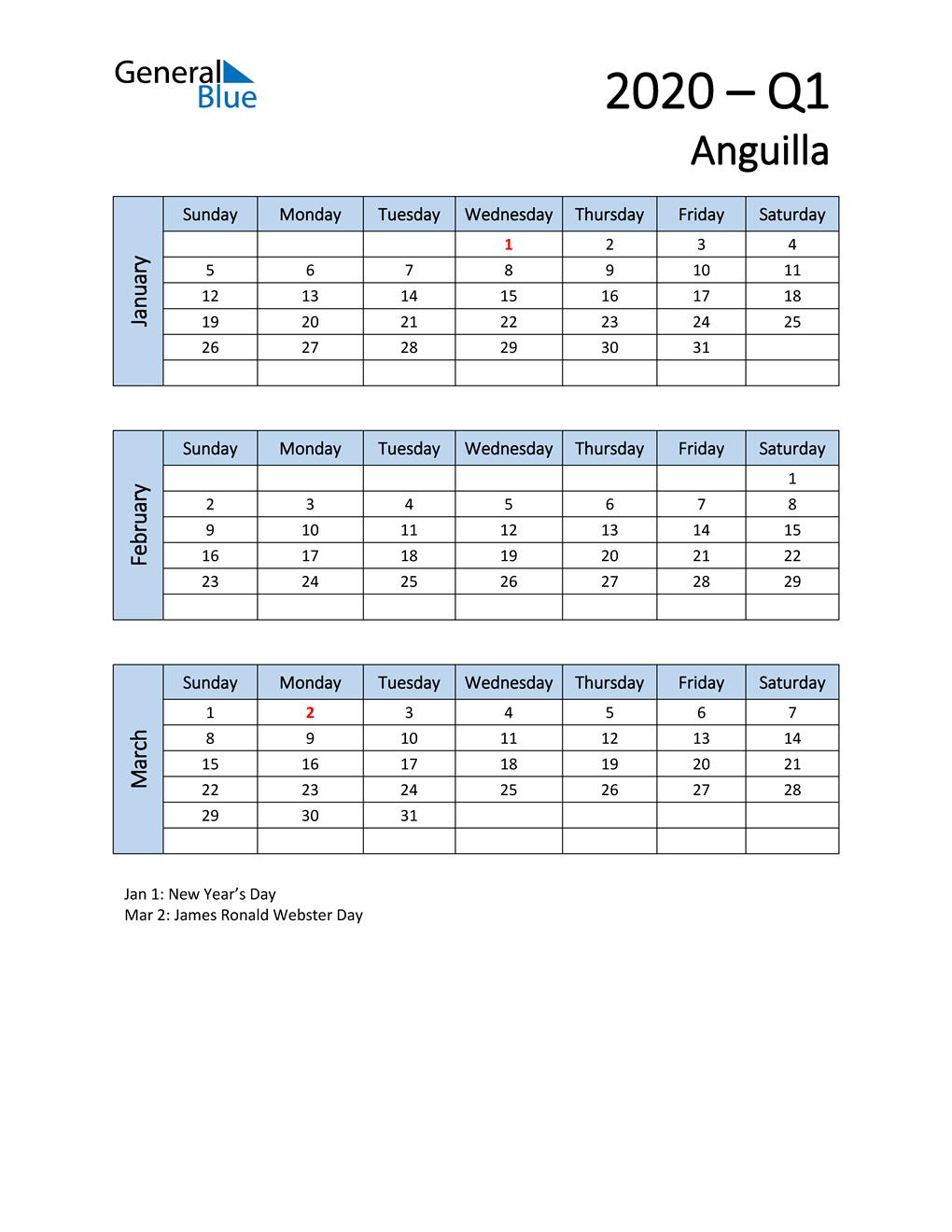 Free Q1 2020 Calendar for Anguilla