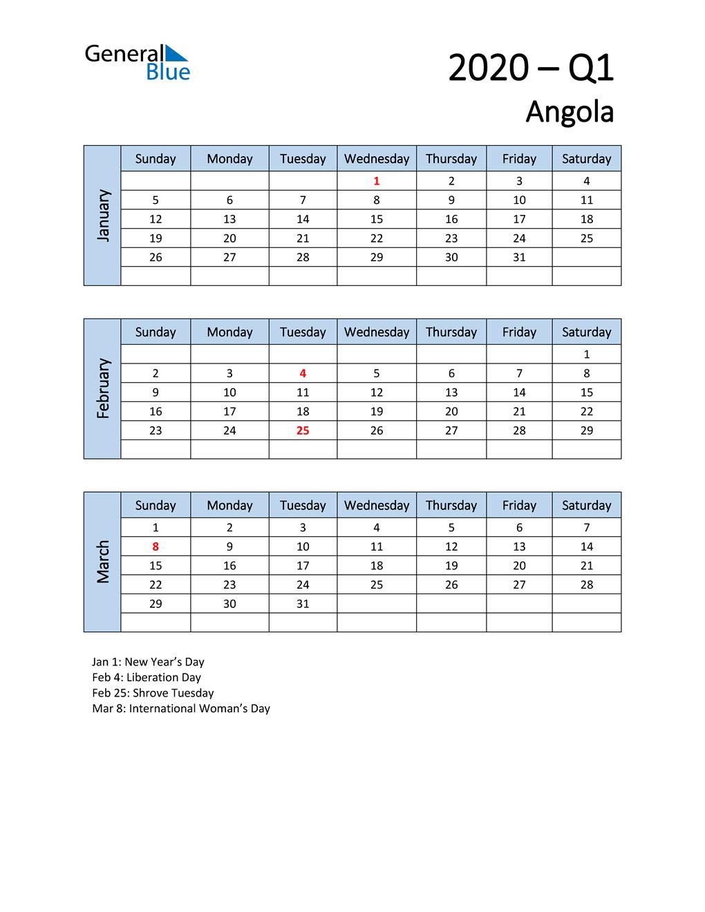 Free Q1 2020 Calendar for Angola