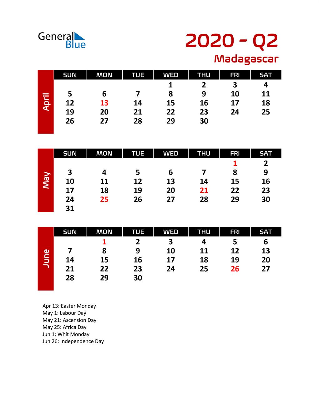 Q2 2020 Calendar with Holidays