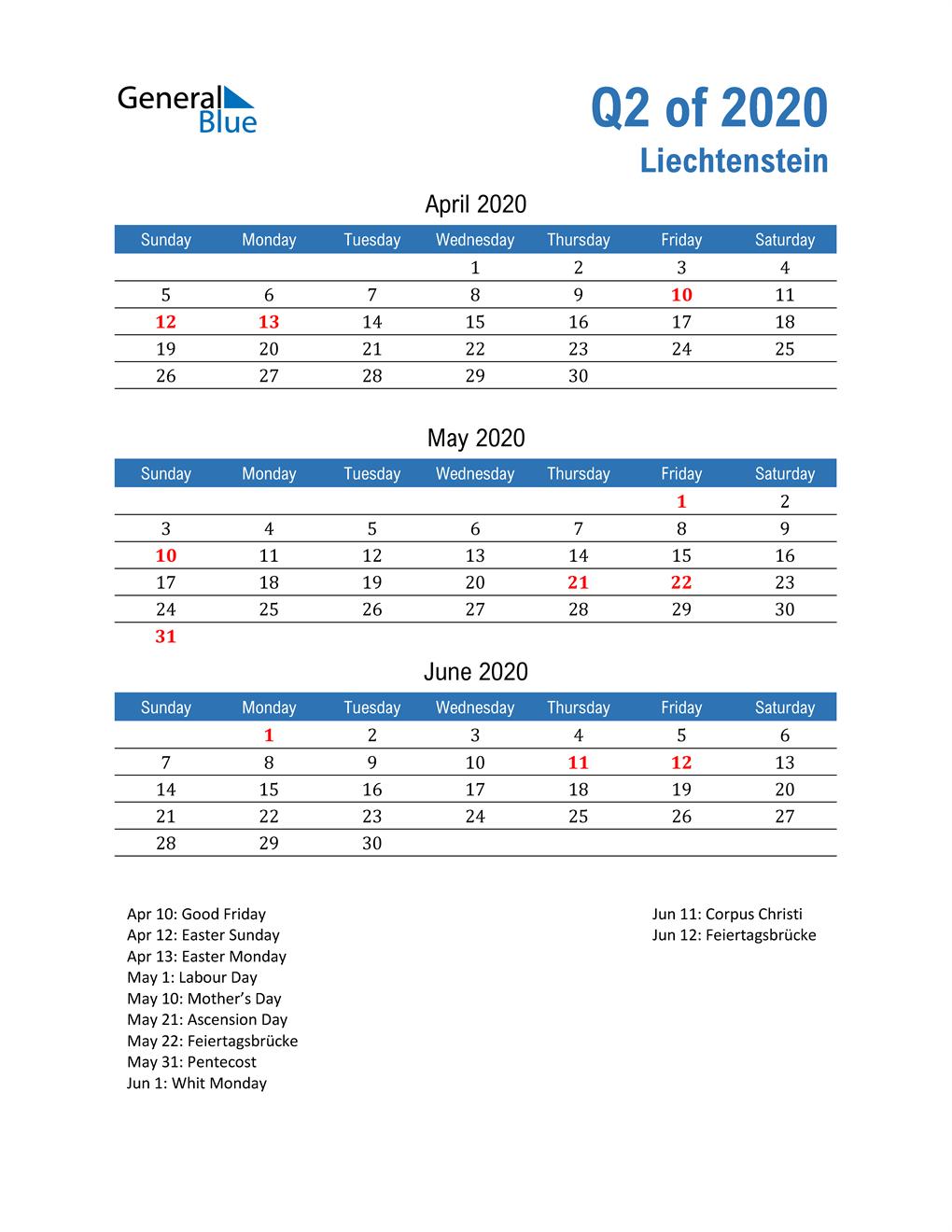 Liechtenstein 2020 Quarterly Calendar