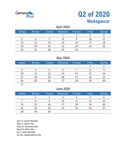 Madagascar 2020 Quarterly Calendar