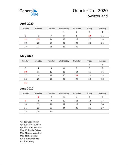2020 Three-Month Calendar for Switzerland