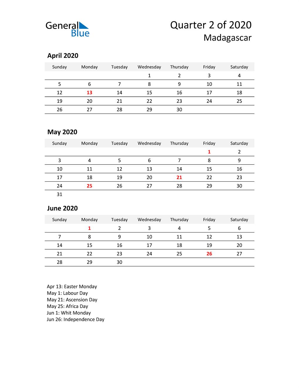 2020 Three-Month Calendar for Madagascar