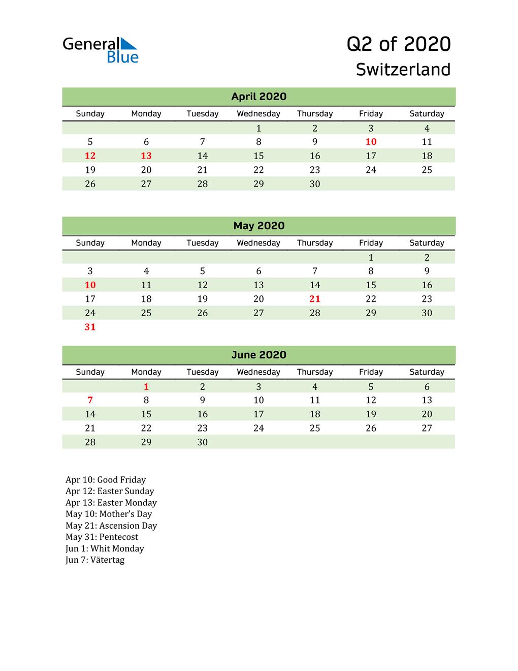 Quarterly Calendar 2020 with Switzerland Holidays