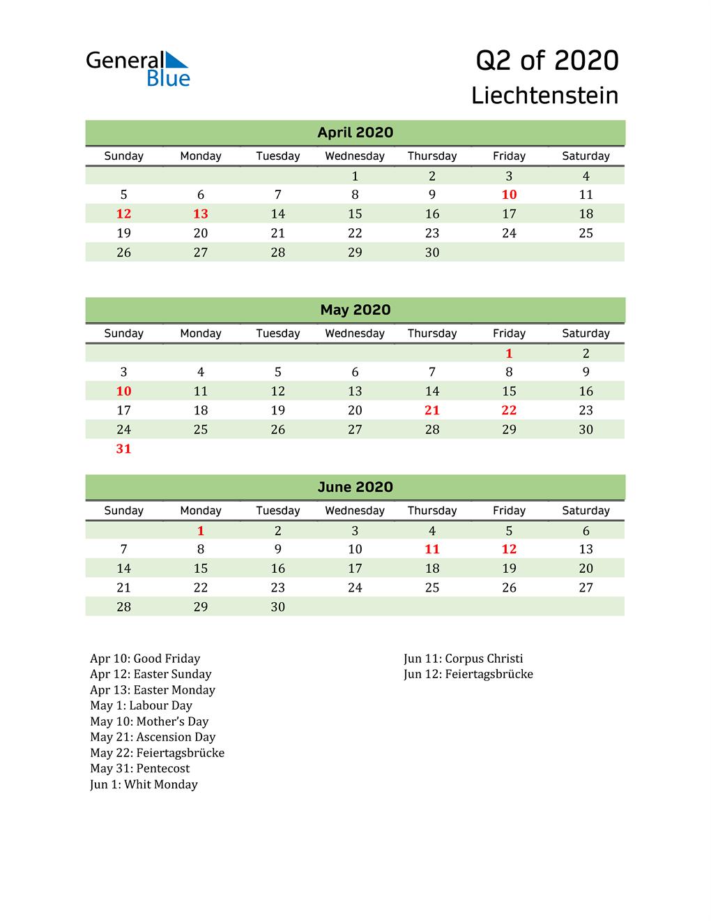 Quarterly Calendar 2020 with Liechtenstein Holidays