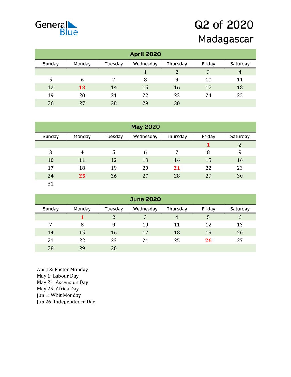 Quarterly Calendar 2020 with Madagascar Holidays