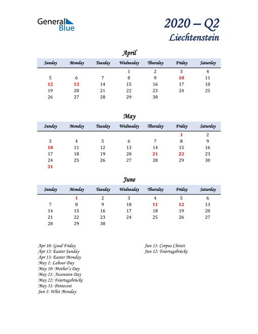April, May, and June Calendar for Liechtenstein