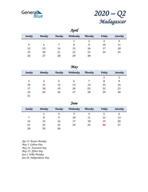 April, May, and June Calendar for Madagascar