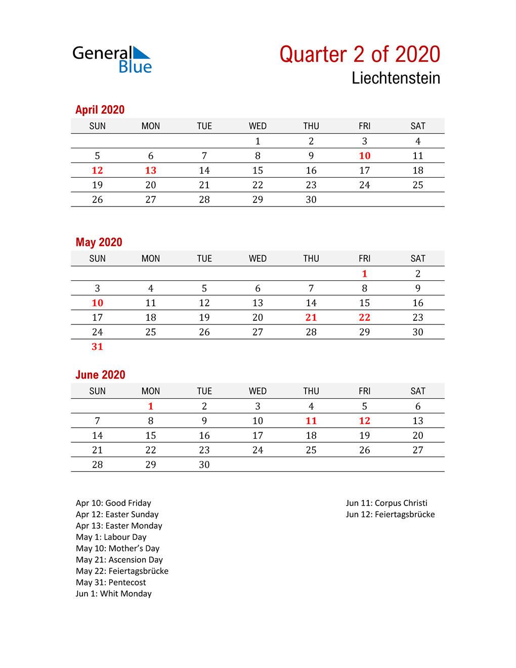 Printable Three Month Calendar for Liechtenstein