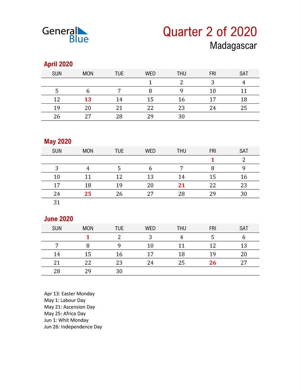 Printable Three Month Calendar for Madagascar