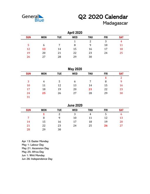 2020 Q2 Calendar with Holidays List