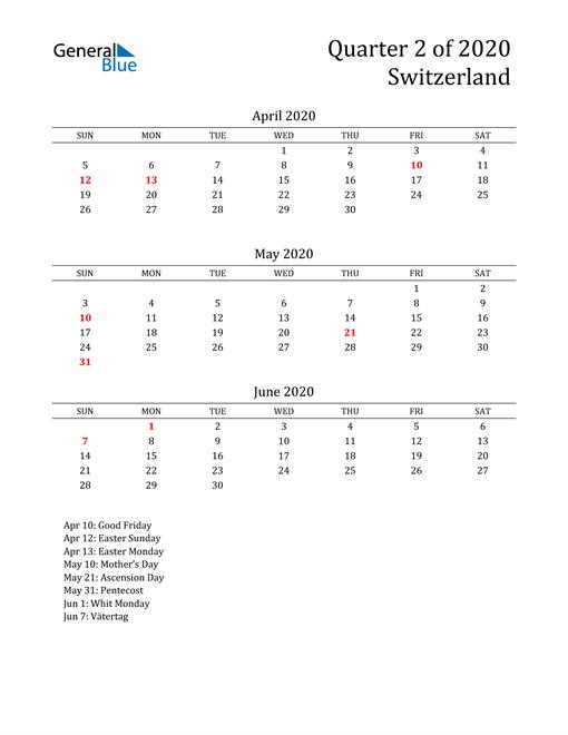 2020 Switzerland Quarterly Calendar