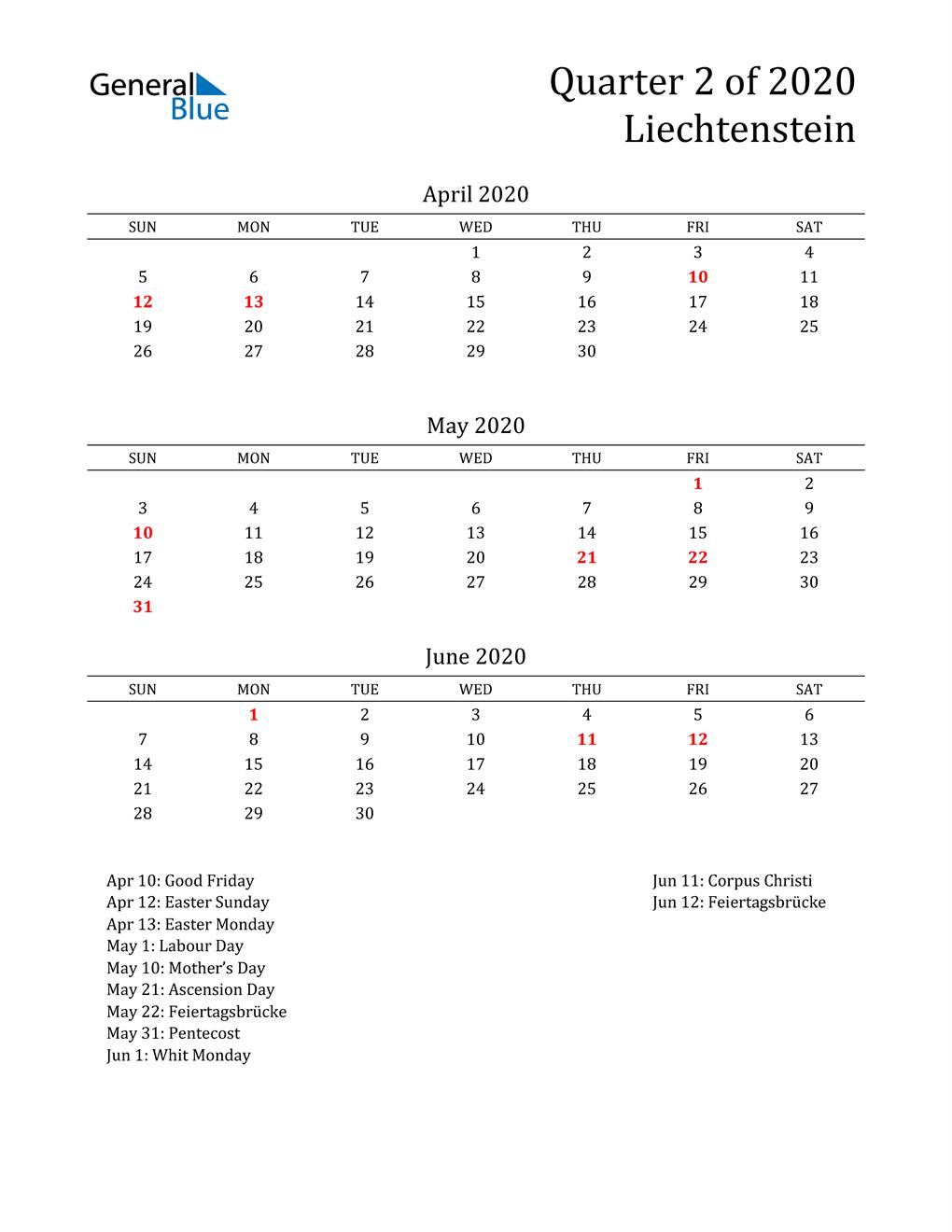 2020 Liechtenstein Quarterly Calendar