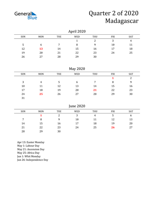 2020 Madagascar Quarterly Calendar