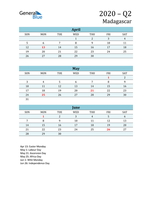 Three-Month Planner for Q2 2020 with Holidays