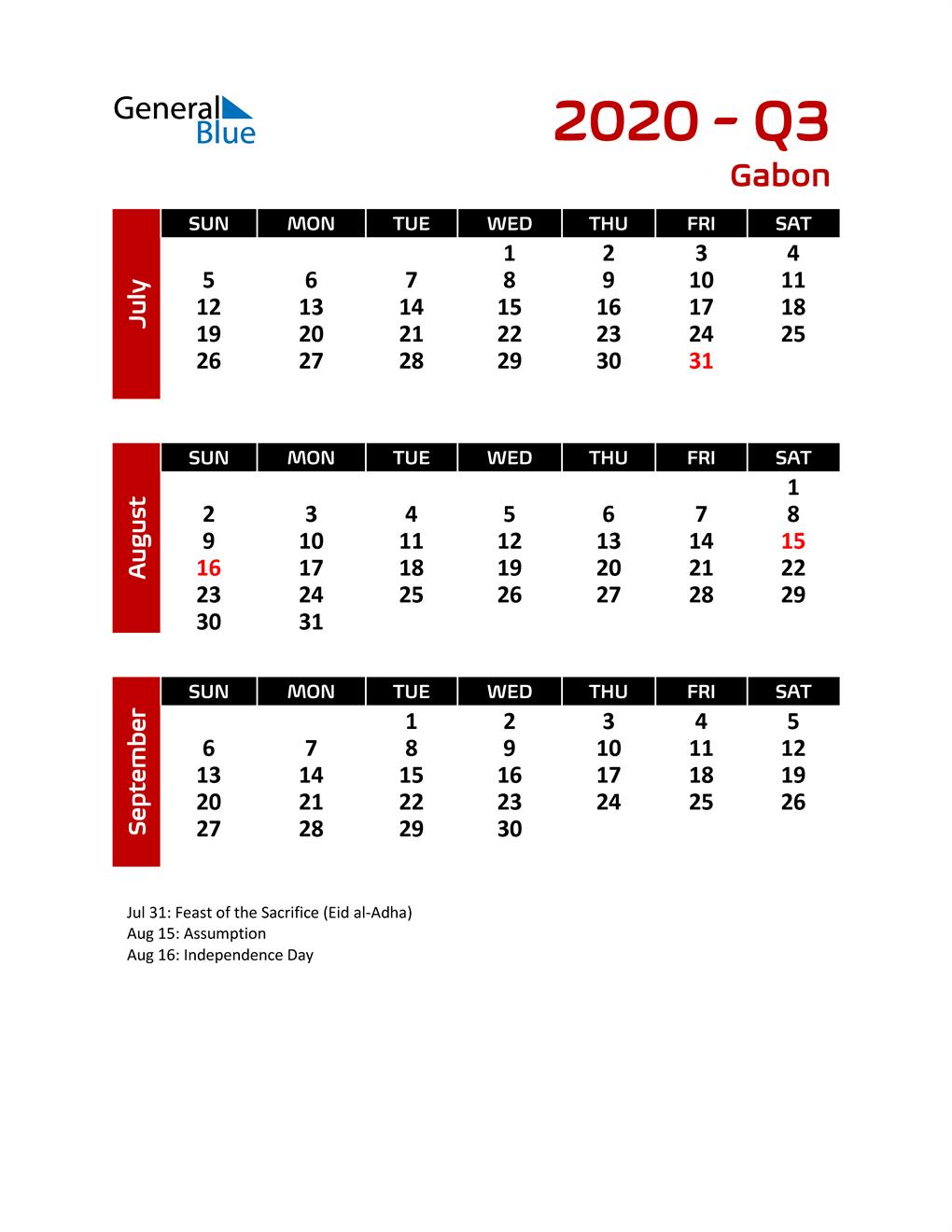 Q3 2020 Calendar with Holidays
