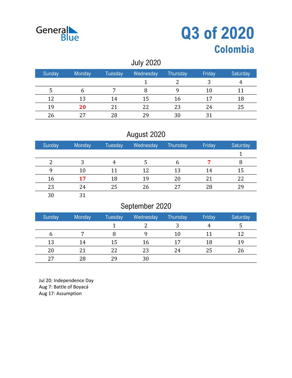Colombia 2020 Quarterly Calendar