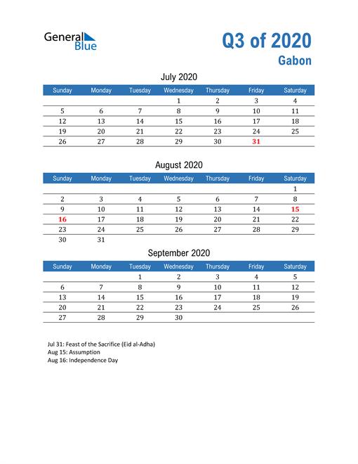 Gabon 2020 Quarterly Calendar