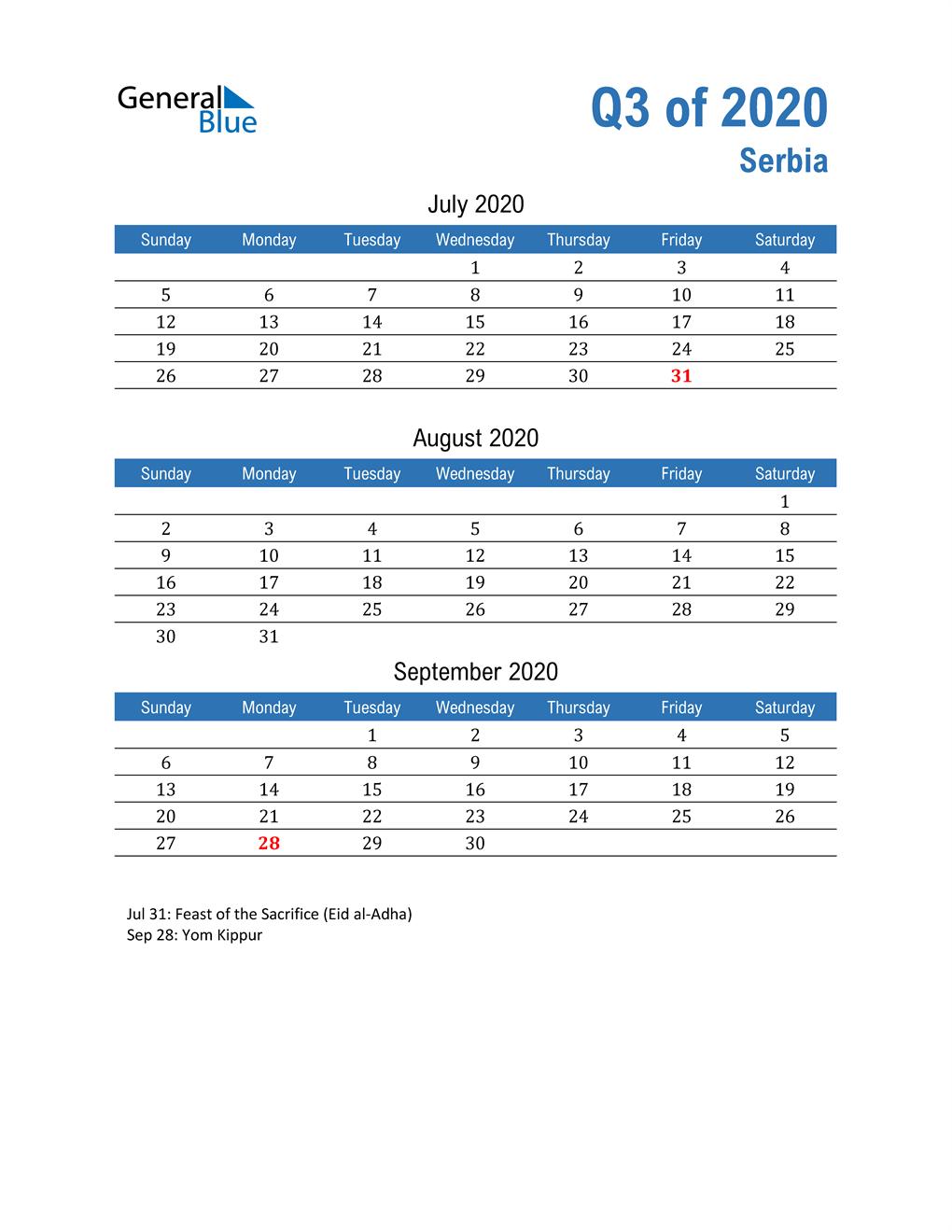 Serbia 2020 Quarterly Calendar