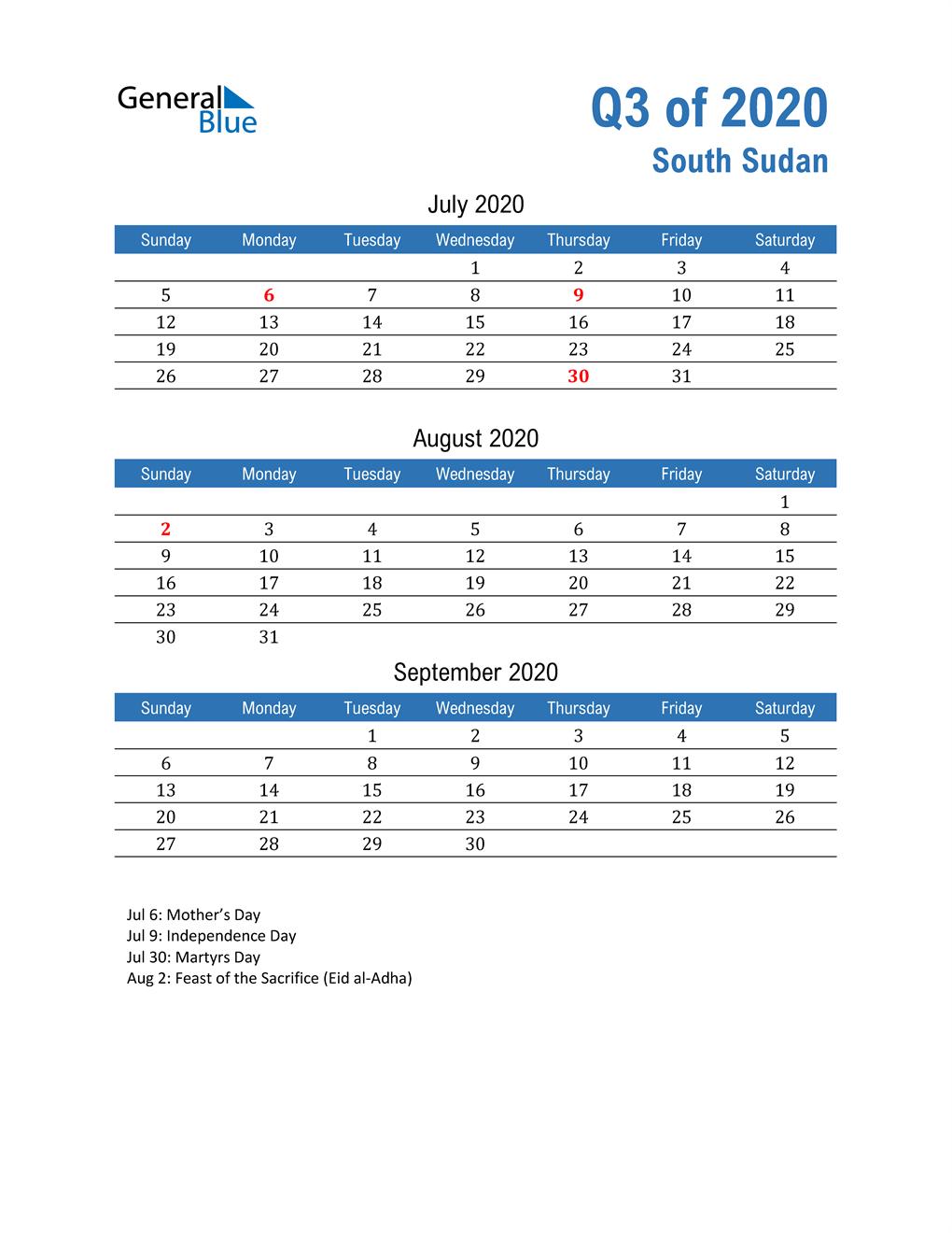 South Sudan 2020 Quarterly Calendar