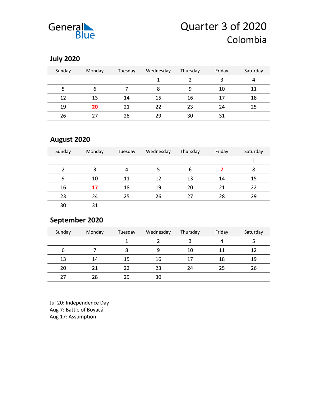 2020 Three-Month Calendar for Colombia