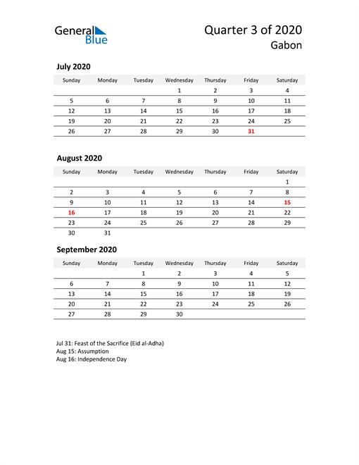 2020 Three-Month Calendar for Gabon