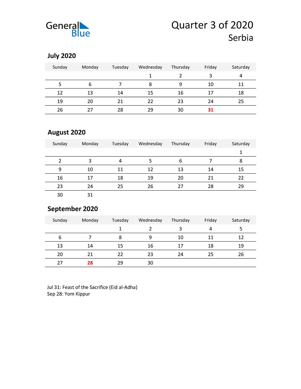 2020 Three-Month Calendar for Serbia