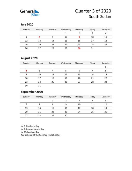 2020 Three-Month Calendar for South Sudan