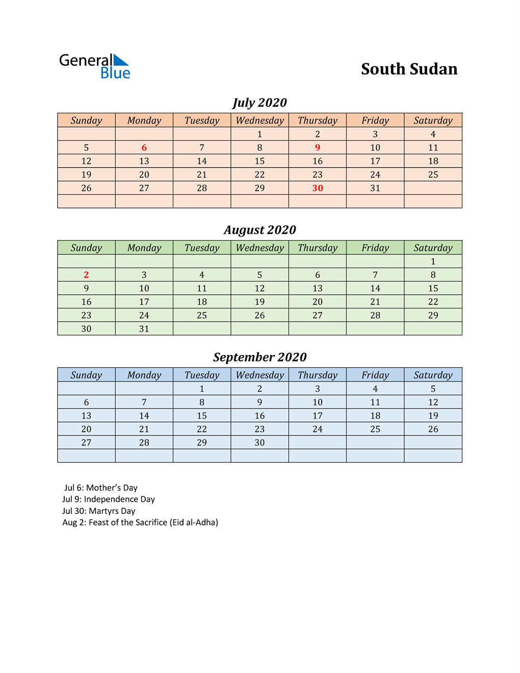 Q3 2020 Holiday Calendar - South Sudan