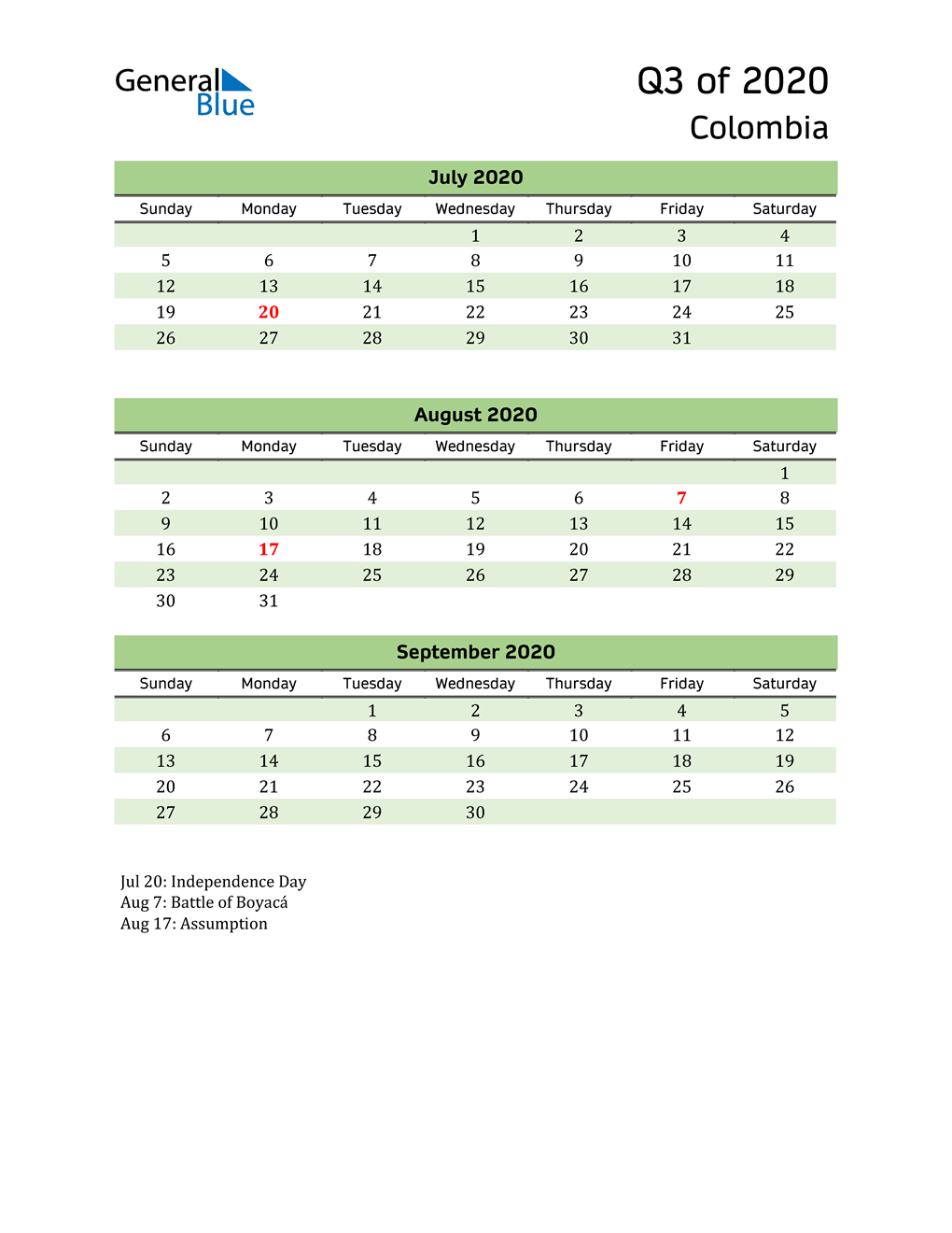 Quarterly Calendar 2020 with Colombia Holidays