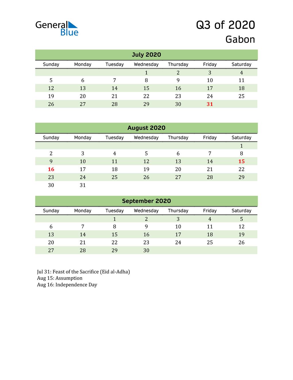 Quarterly Calendar 2020 with Gabon Holidays