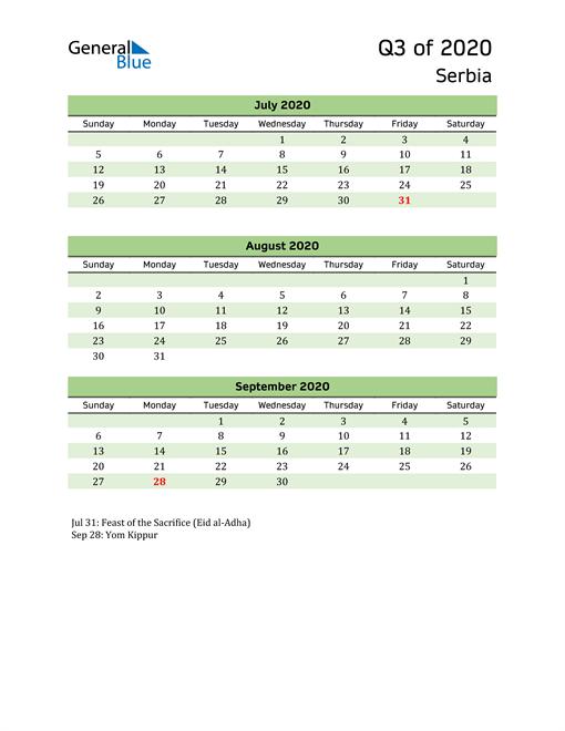 Quarterly Calendar 2020 with Serbia Holidays