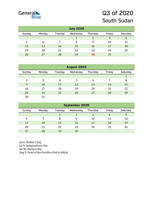 Quarterly Calendar 2020 with South Sudan Holidays