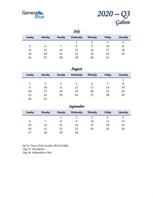 July, August, and September Calendar for Gabon
