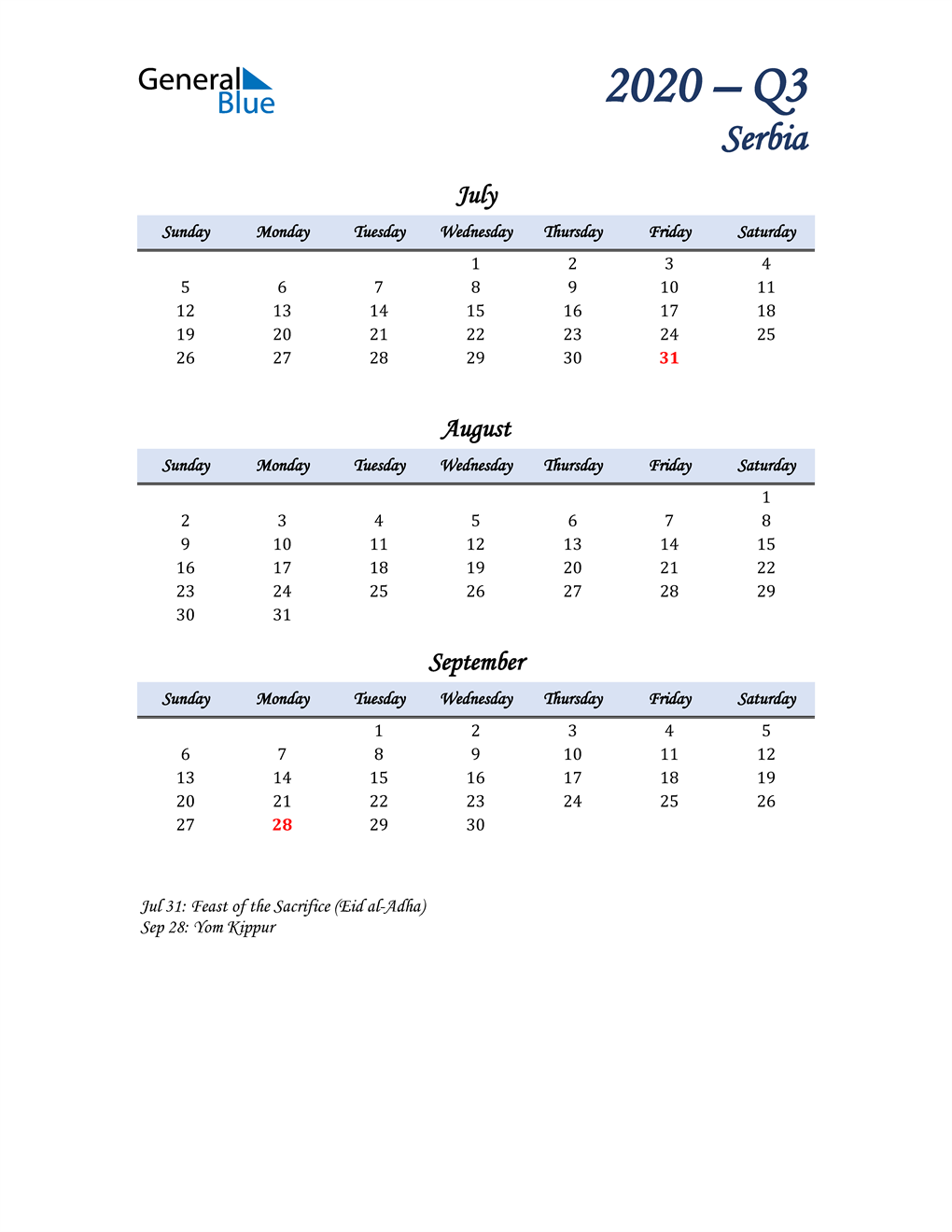 July, August, and September Calendar for Serbia