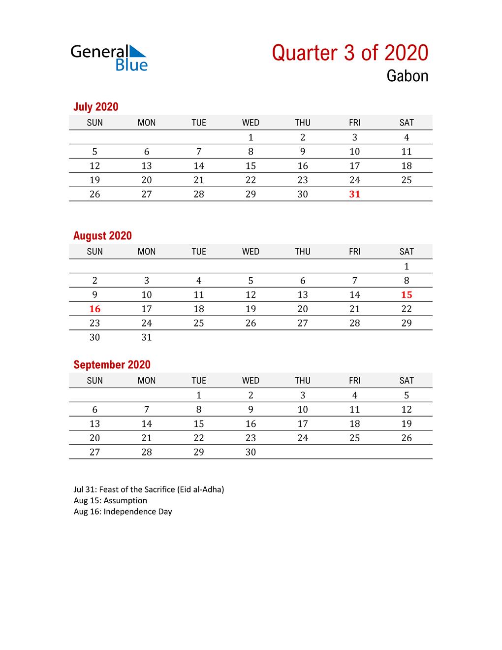 Printable Three Month Calendar for Gabon