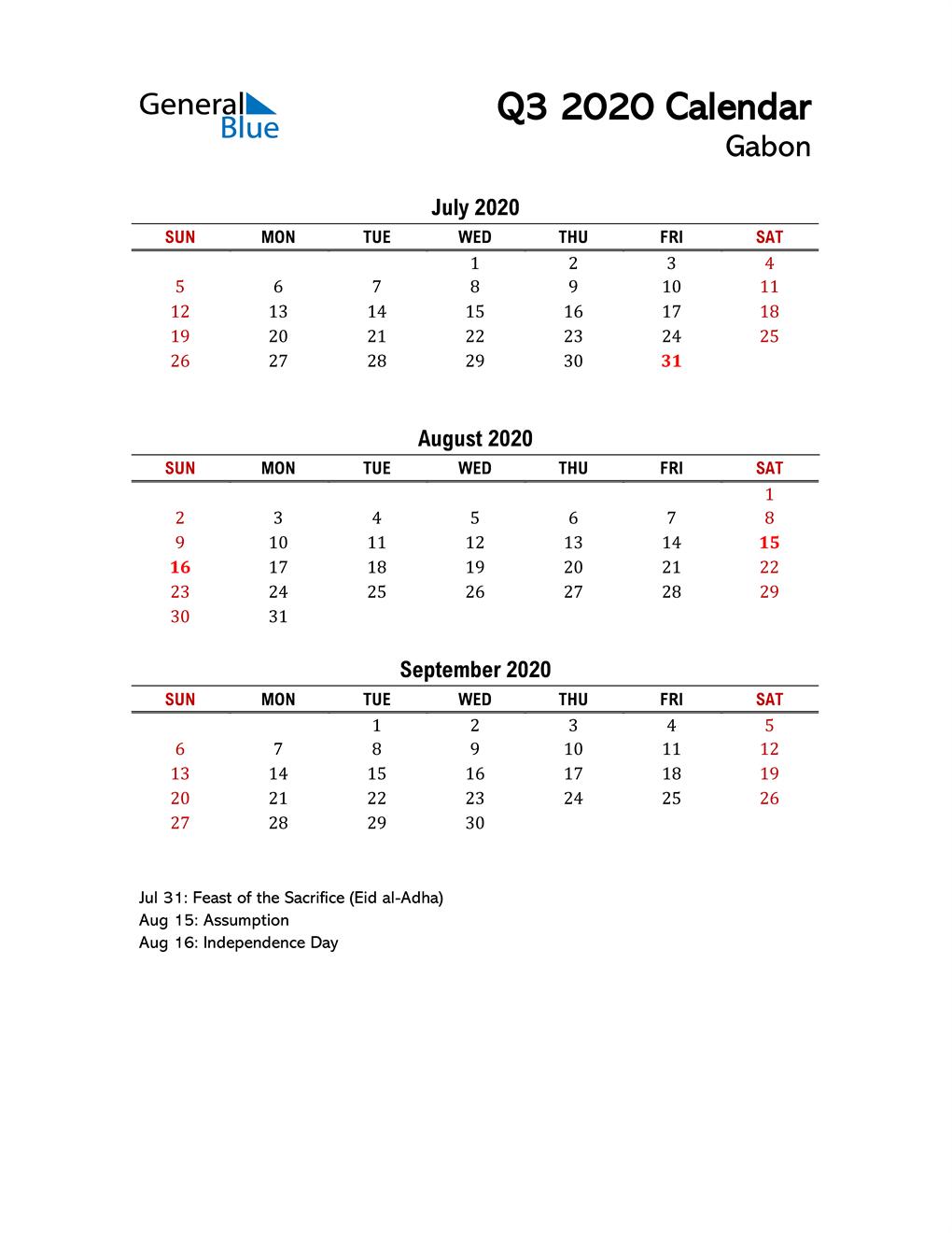 2020 Q3 Calendar with Holidays List