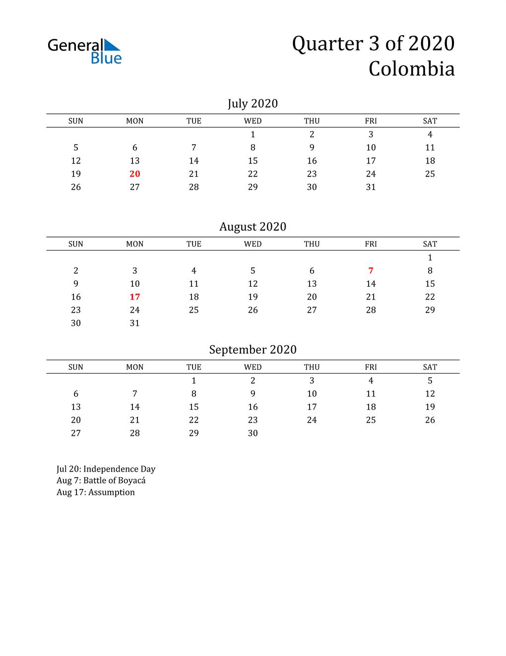 2020 Colombia Quarterly Calendar